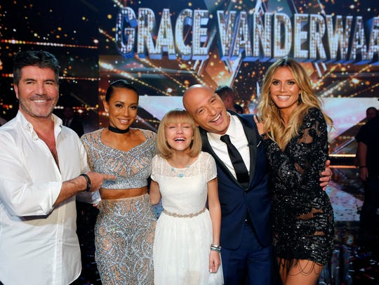 Pictured: (l-r) Simon Cowell, Mel B, Grace VanderWaal,