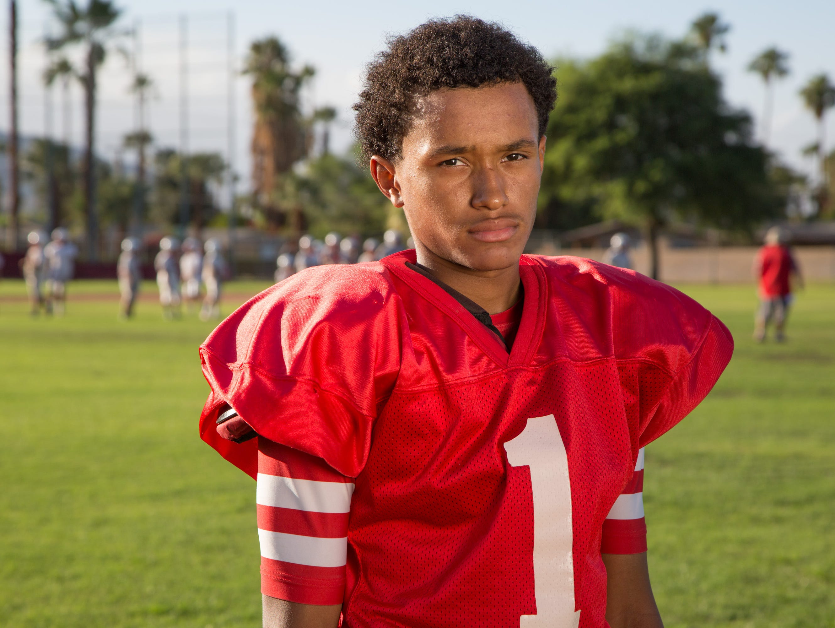 Palm Springs sophomore quarterback Jeremy Dotson helped his team gain their first win of the season last Friday with 5 TD passes, Sept. 22, 2016.