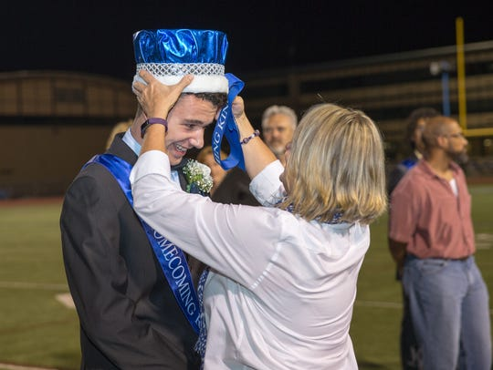 Anthony Gavazzi smiles as he is crowned the 2016 Homecoming