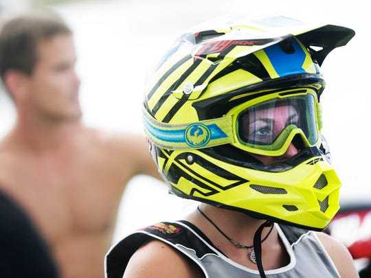 Athlete Sophie Perrin of Swindon, England prepares to start her race during the Hidden Trails Pro Watercross World Championship at Sugden Regional Park in Naples on Sunday, Sept. 25, 2016.