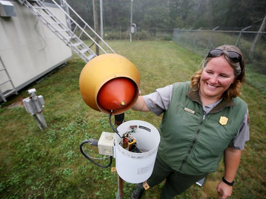 Elizabeth Garcia, a physical science technician of air and water quality at Shenandoah National Park, explains how they monitor air pollutants such as nitrogen, sulfur, mercury and ozone in the park.