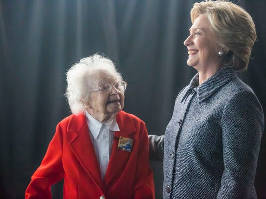 Ruline Steininger of Pleasant Hill meets Hillary Clinton before a rally in Cowles Commons in downtown Des Moines, Thursday, Sept. 29, 2016. Steininger, 103, has voted in every election since Franklin D. Roosevelt. It was the third time she met Hillary Clinton.