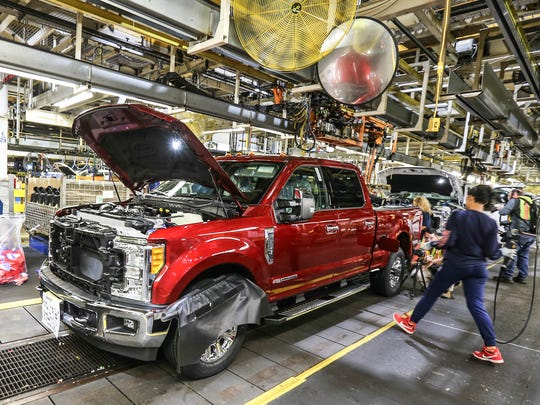 Ford Super Duty trucks on the assembly line at the Kentucky Truck Plant.