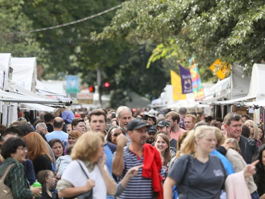 The crowd during the St. James Art Fair in Louisville,