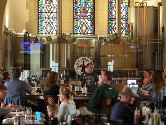 Atwater in the Park, a German style biergarten, brewery and gastropub housed in a renovated church, hosted hundreds of guests during the venues Oktoberfest in the Park celebration on Saturday, October 1, 2016.