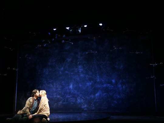 """Actors Cody Nickell and Kate Eastwood Norris rehearse the play """"Constellations,"""" by Nick Payne and directed by Matt Pfeiffer, put on by Gulfshore Playhouse at The Norris Center in Naples, on Tuesday, Oct. 4, 2016."""