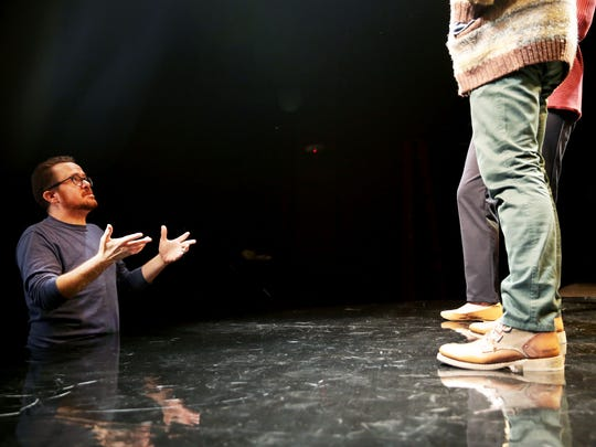 "Director Matt Pfeiffer, left, talks to actors Cody Nickell and Kate Eastwood Norris during rehearsal of the play ""Constellations,"" by Nick Payne, put on by Gulfshore Playhouse at The Norris Center in Naples, on Tuesday, Oct. 4, 2016."