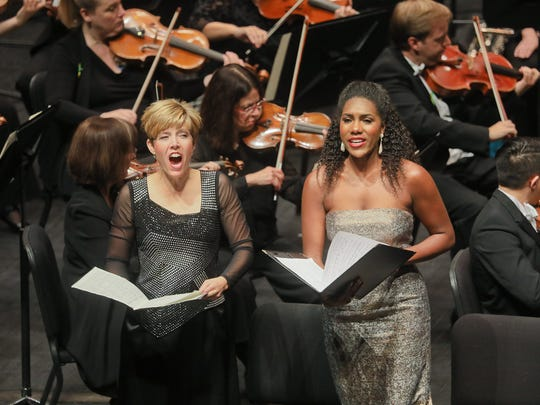 Celena Shafer, soprano, J'Nai Bridges, mezzo-soprano, performing with the Louisville Orchestra, Teddy Abrams, conductor, during Saturday's concert of Mahler's Symphony No. 2 at the Kentucky Center.