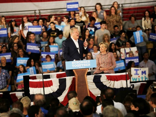 Former Vice President Al Gore addresses the crowd during a rally at Miami Dade College on Tuesday, Oct. 11, 2016.