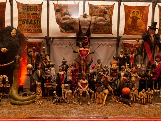 A series of large-scale dioramas give a visual history of Theatre Bizarre.