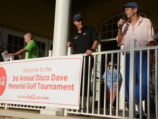 Jim Goodall addresses the players. Over 80 golfers teed it up Sunday morning in the 3rd annual Disco Dave Memorial Golf Tournament on the Rookery at Marco golf course in Fiddler's Creek.