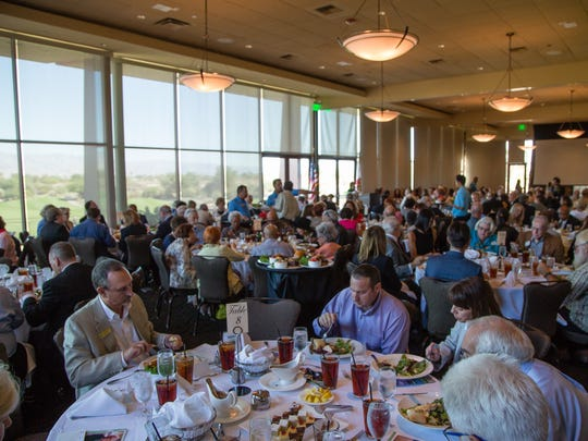 Friends, family and public officials gather at a tribute for longtime city council member Bob Spiegel at Desert Willow Golf Resort, Wed. October 19, 2016.