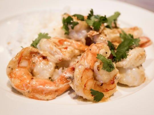 SautŽed shrimp with coconut milk, garlic chili sauce,