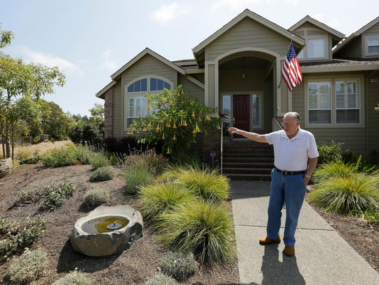 Santa Rosa, California resident Bill Crowell shows