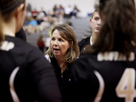 Buffalo Gap head coach Elizabeth Ashby talks to players