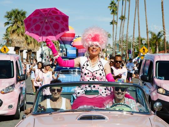 Bella da Ball rides in the annual Palm Springs Pride parade, Sunday, November 6, 2016.