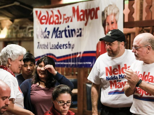 Mayor Nelda Martinez speaks with supporters during her election night  gathering Tuesday, Nov. 8, 2016, at Howard's BBQ. The mayor was defeated by challenger Dan McQueen.