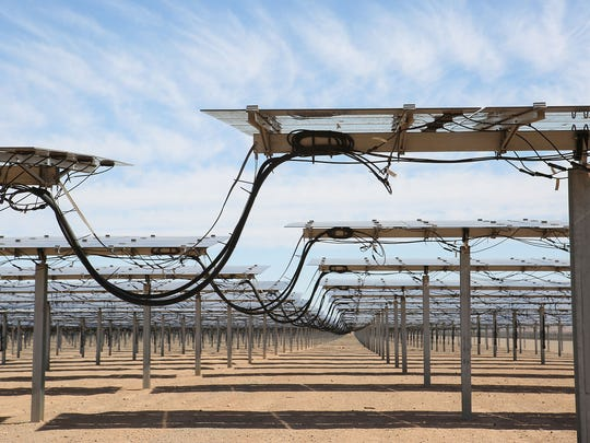Thousands of NextEra Energy's solar panels are online and producing electricity at the Blythe and McCoy Solar Energy Center in Blythe, November 10, 2016.