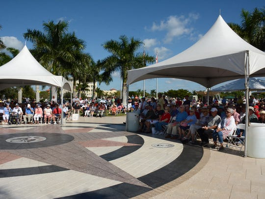 Hundreds gathered at Veterans Community Park on Marco Island at 11 a.m. Friday to commemorate Veterans Day.