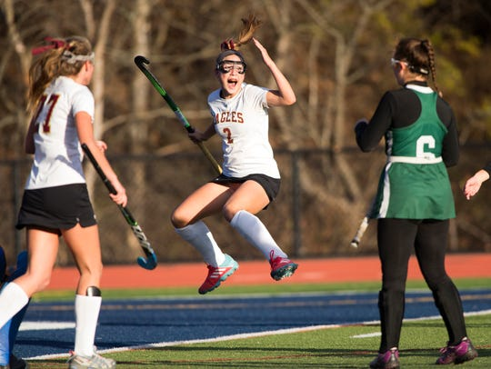 Whitney Point's Leanne Bough reacts after scoring the