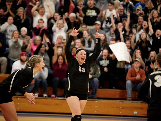 Buffalo Gap's Camille Ashby celebrates a point during