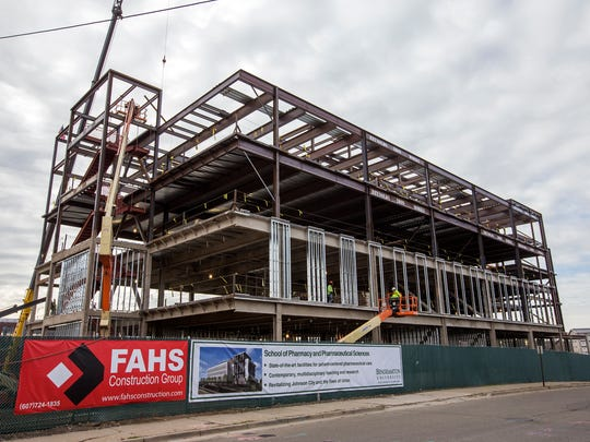 Construction began in 2016 for Binghamton University's new School of Pharmacy and Pharmaceutical Sciences in Johnson City.