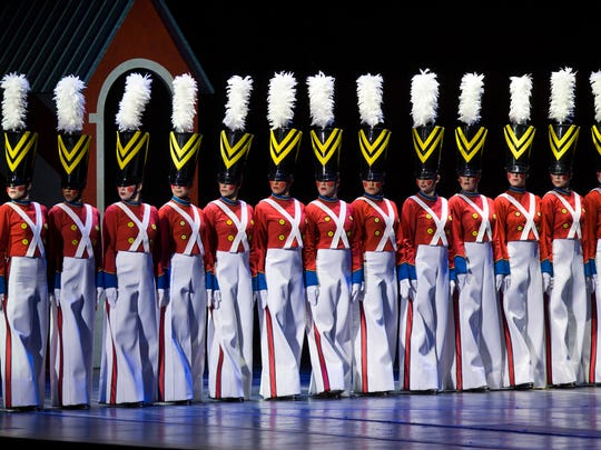 "The Rockettes perform as wooden soldiers in the ""Radio City Music Hall Christmas Spectacular."""
