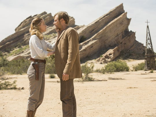"Evan Rachel Wood and Jimmi Simpson in an episode of HBO's ""Westworld."""