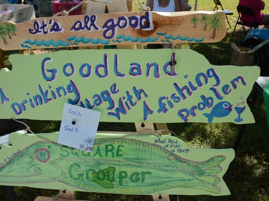 File: Holly Olson's handmade signs sum up the village during a previous Goodland Civic Association Holiday Bazaar.