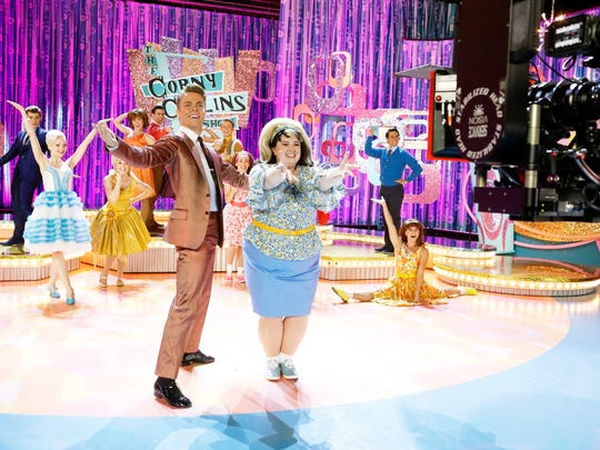Derek Hough (as Corny Collins) and Maddie Baillio (as Tracy Turnblad) in NBC's 'Hairspray Live!'