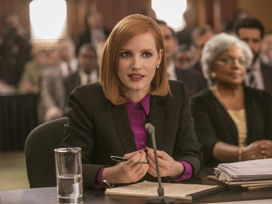 "Jessica Chastain plays a win-at-all-costs lobbyist who takes on the gun industry in ""Miss Sloane."""
