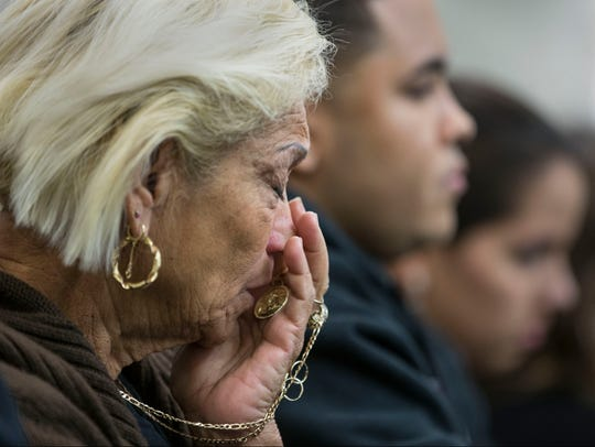 The grandmother of the victim, listens to the proceeding.