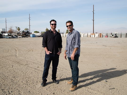 Del-Gro CEO Ben Levine with Ajax Auto Wrecking owner Paul Pavao on Tues., Dec. 13, 2016. Del-Gro arranged to purchase the property from Ajax after it was approved for marijuana cultivation by the City of Coachella.