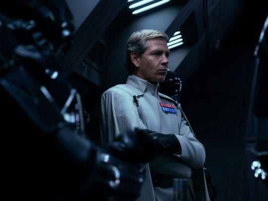 "Ben Mendelsohn as Orson Krennic in the film ""Rogue One: A Star Wars Story."""