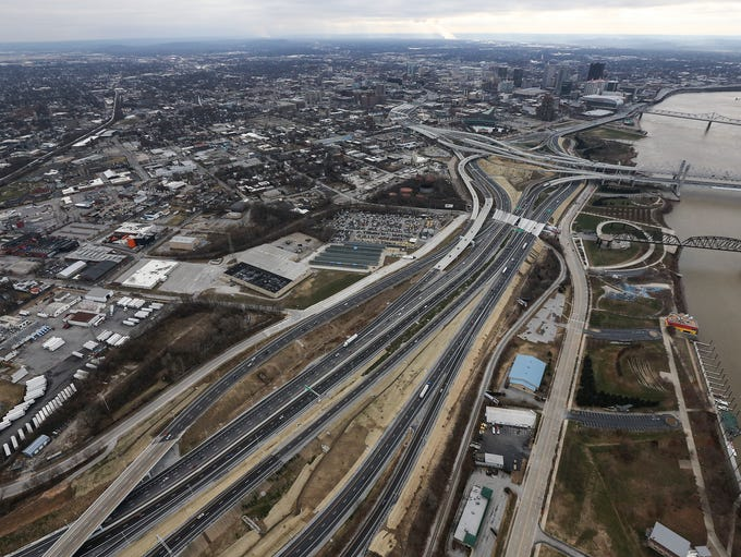 Louisville skyline with Spaghetti Junction, I-64 and