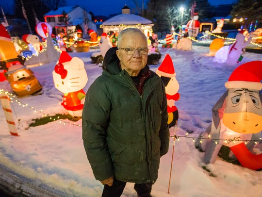 Town of Chenango resident Don Phillips with collection of Christmas decorations in 2016.