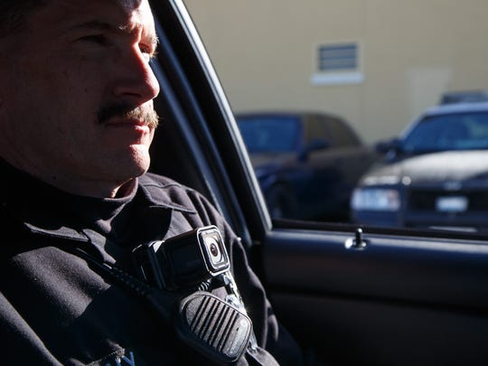 Cathedral City police officer Mark Novy goes out on