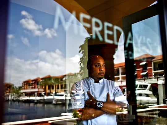 Chef Charles Mereday stands in July 2013 at his former Mereday's Fine Dining restaurant at Naples Bay Resort.