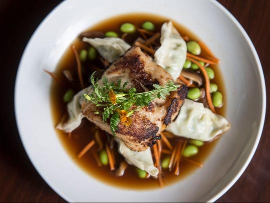 Miso Cod- Edamame Dumplings, Shiitake Lemongrass Broth.