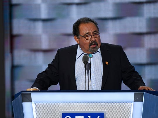Rep. Raul Grijalva, D-Ariz., pictured here speaking at the 2016 Democratic National Convention, is in line to become the next chairman of the House Natural Resources Committee.
