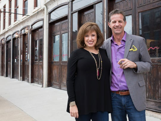Jeff Mouttet, right, and wife Sara Mouttet will be opening Match Cigar Bar inside the former Main Street Pub space in downtown New Albany. A space in the building will also be leased to a new non-smoking restaurant called Urban Bread Company. Jan 17, 2016