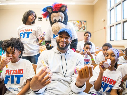 Detroit Pistons center Andre Drummond finds fun during an NBA FIT clinic Thursday at Bethune Elementary in Detroit.