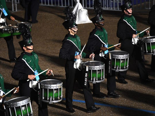 Jan 20, 2017; Washington, DC, USA; The Palmetto Ridge High School Marching Band marches in the Inaugural Parade during the 2017 Presidential Inauguration at the Lafayette Park reviewing stand.