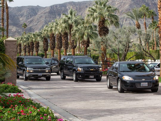 Former president Barack Obama's motorcade leaves Thunderbird Heights in Rancho Mirage Sunday morning, Jan. 22, 2017.
