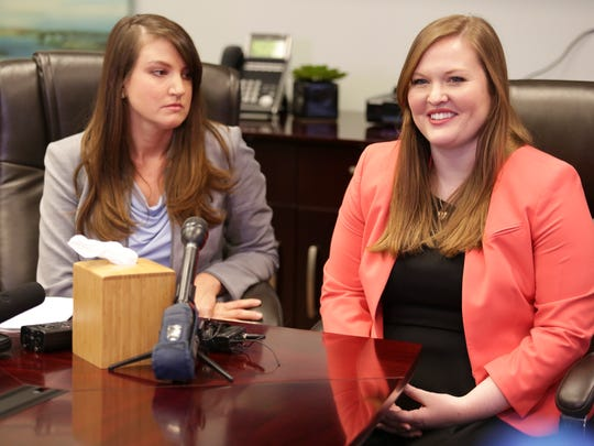 Attorney Vanessa Cantley, left, sits with client Kristen McMains, who was brutally attacked in an attempted robbery by John Z. Ganobcik on the sixth floor of the Fourth Street Live! Garage last year. McMains, who has a concealed carry permit, was lawfully carrying a handgun at the time of attack, and was eventually able to fire shots, injuring Ganobcik, and likely saving her life. There was no video surveillance of the area where Ms. McMains was nearly killed, and no security on duty. She has filed a suit today against the owners of the garage alleging negligent security. Jan. 23, 2016