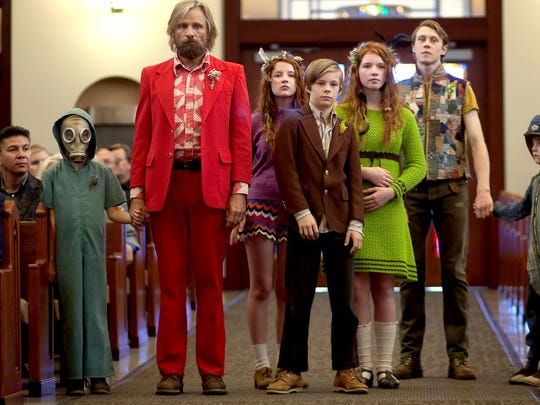 "Standing from left, Shree Crooks, Viggo Mortensen, Samantha Isler, Nicholas Hamilton, Annalise Basso, George MacKay and Charlie Shotwell in a scene from ""Captain Fantastic.""  Mortensen was nominated for a best-actor Oscar."