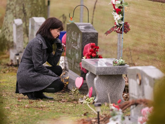 "Jennifer Powell visits the gravesite of her younger sister, Jolene Berger-Bowman, who died in a church bathroom from an overdose after taking a pill that ended up containing fentanyl, which is up to 50 times more potent that heroin. Berger-Bowman had been sober for 16-months and had went back to work, was living on her own and raising her children. ""Her dealer had been reaching out to her for months,"" Powell said. ""I don't know what took her back to that place again."" The pill was a counterfeit pill, made to look like a lortab, or oxycotin. ""She thought she was getting a pain pill,"" Powell said. Jan. 24, 2017"