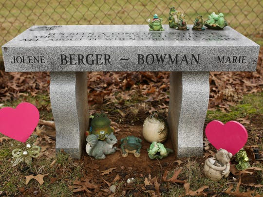 Frogs and hearts decorate the tombstone of Jolene Berger-Bowman, who died in a church bathroom from an overdose after taking a pill that ended up containing fentanyl, up to 50 times more potent that heroin. Jan. 24, 2017