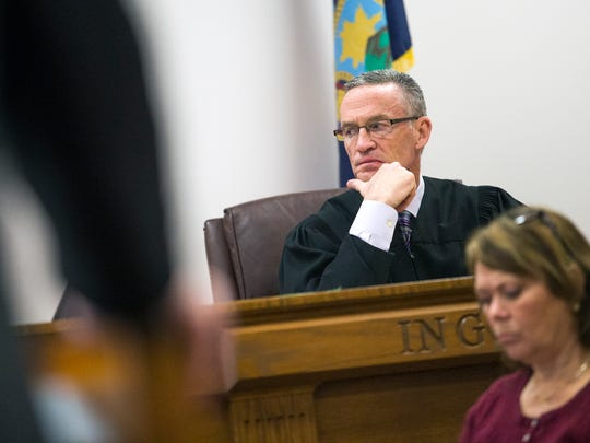 Judge Joseph Cawley listens to witness testimony Wednesday during the trial for Samantha Werkheiser.