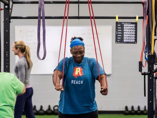 Kryseana Harper works out at The New Beginnings Center,